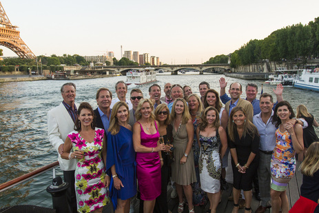 Bastille Day Tour Group on Seine River Cruise